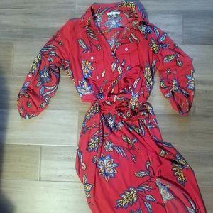 Red floral/paisley maxi shirt dress